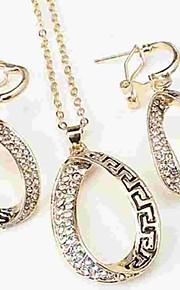 Dame Store øreringe Halskæde Rhinsten Klassisk Mode Daglig Simuleret diamant Legering Geometrisk form 1 Halskæde Øreringe