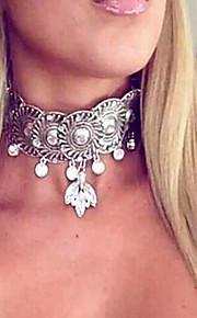 Dame Overdimensionerede Rhinsten Simuleret diamant Kort halskæde - Vintage Overdimensionerede Mode Cirkelformet Guld Sølv 37cm Halskæder