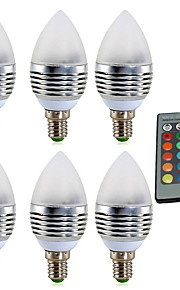 YWXLIGHT® 6pcs 4W 300-400 lm E14 LED Candle Lights 1 leds High Power LED Dimmable Decorative Remote-Controlled RGB