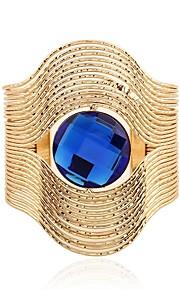 Dame Manchetarmbånd Syntetisk safir Vintage Overdimensionerede Mode Rustfrit Stål Glas Guld Sølv Cirkelformet Smykker Ceremoni