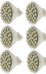 SENCART 6pcs 2W 140-180 lm MR11 LED-spotpærer MR11 30 leds SMD 3528 Dekorativ Varm hvit Kjølig hvit Gul DC 12V