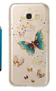 Capinha Para Samsung Galaxy A5(2017) A3(2017) IMD Estampada Glitter Brilhante Capa traseira Borboleta Macia TPU para A3 (2017) A5 (2017)