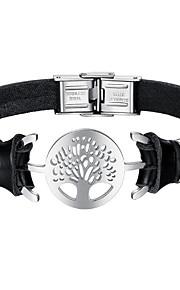 Herre Læder Armbånd Mode Rustfrit Stål Læder Sort Livets træ Smykker Daglig Kostume smykker