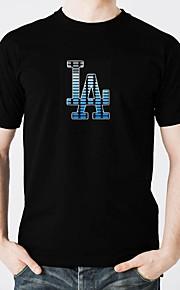 LED T-skjorter Lighting Stilig Design Elektronisk Selvlysende Selvlysende Lydaktivert Ren bomull Fest Fritid 2 AAA Batterier