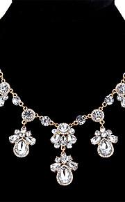 Dame Kvadratisk Zirconium Krystal Zirkonium Erklæring Halskæder - Mode Sød Dråbe Guld Sølv 45+5.4cm Halskæder Til Bar Stævnemøde