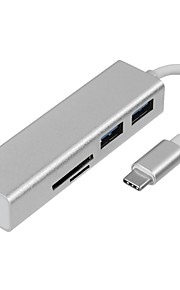 Type-C USB-kabeladapter Højhastighed med Ethernet 1 til 5 Alt-i-En Adapter Til MacBook Samsung Xiaomi MacBook Pro 10cm Aluminium