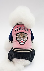 Dogs Coat Dog Clothes Character / Slogan Dark Blue / Green / Pink Cotton Costume For Pets Unisex Warm Ups / Simple Style