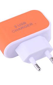 Φορητός φορτιστής Φορτιστής USB Ευρωπαϊκή Πρίζα Κανονικό 3 θύρες USB 3.1 A DC 5V για Universal