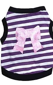 Собаки Жилет Одежда для собак В полоску Бант Лиловый Розовый Хлопок Костюм Назначение далматина Корги Гончая Лето Универсальные Милый стиль На каждый день