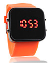 Silicone Band Women Men Unisex Jelly Sport Style Square Mirror LED Wrist Watch - Orange