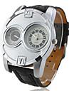 V6 Masculino Relógio Militar Quartzo Quartzo Japonês Dois Fusos Horários PU Banda Preta