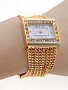 Women\'s PC Movement Golden Band White Dial Bracelet Watch with Czechic Diamond Decoration Cool Watches Unique Watches Strap Watch
