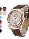 황금 watchcase (여러 색)과 여성의 롤 볼 스타일의 PU 가죽 아날로그 석영 손목 시계