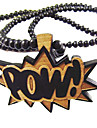 Word Pow Pattern Wooden Necklace