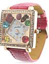 Кожа Женская группа аналоговые кварцевые наручные часы с Rhinstone инкрустированные Красочный площади Dial (красный)