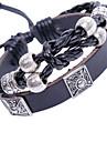 Eruner®Silver Plated Black Leather Bracelet
