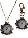 Unisex Butterfly Style Alloy Analog Quartz Keychain Necklace Watch (Bronze)