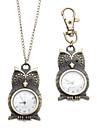 남녀 올빼미 스타일 합금 아날로그 쿼츠 체인 목걸이 시계 (청동)