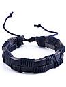Punk Retro Double-Deck Pu Weave Leather Bracelet