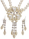Heart-Shaped Leaves Pearl Earrings + Necklace Jewelry Set