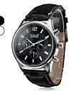 auto-mécanique 6 pointeurs des hommes en cuir noir montre bracelet (couleurs assorties)
