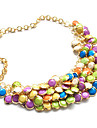 Punk Style Alloy Resin Multi-row Colorful Button Necklace
