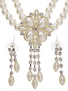The Beads Square Pearl Earrings + Necklace Jewelry Set