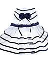 Chien Robe Vêtements pour Chien Rayure Nœud papillon blanc / bleu Térylène Costume Pour les animaux domestiques Femme Anniversaire Mode