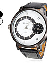 Men's Military Style 2 Time Zones PU Band Quartz Wrist Watch (Assorted Colors)