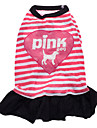 Dog Dress Dog Clothes Breathable Heart Letter & Number Pink Costume For Pets