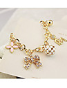 Gold Plated Alloy Zircon Clover Bead Angle Pattern Bracelet(Random Colors)