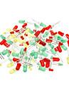 3 milímetros e 5 milímetros de diodo emissor de luz - Verde + Vermelho + Amarelo (100-Piece Pack)