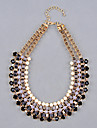 Shixin® Multi Layer Rein Gem Bead tatement Bib Collar Necklace