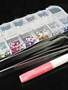 12 Color Nail Art Acrylic Rhinestones Decoration with 2 Nippers Glue(Random Color)