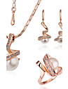 Women's 18K Gold Jewelry Set Rings Earrings Necklace - Fashion For Party Daily