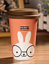 Cartoon Rabbit Mug with Flexible Glue Cover Cup