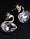 Femme Boucles d'oreille goujon Cristal Pierres de naissance Pierres synthétiques Imitation Diamant Alliage Cygne Animal Bijoux Quotidien