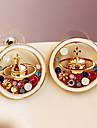 Корейская мода инкрустированные алмазами Сатурн серьги падение серьги серьги эмали вселенной E444