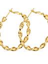Bronze plaqué Cercle Boucles d'oreilles en or ER0465
