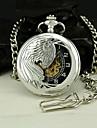 Мужчин полумеханических Серебряный Феникс сплава Дело Черный циферблат карманные часы