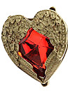 European And American Trade Retro Ruby Love Angel Wings Ring