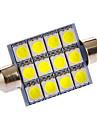 Festoon 3W 12x5050SMD 108LM 6000-7000K Cool White Light LED Bulb for Car (DC 12V)