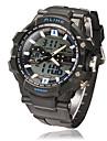 Masculino Relógio Esportivo Quartzo Quartzo Japonês LCD Calendário Cronógrafo Impermeável Dois Fusos Horários alarme Borracha Banda Preta