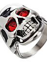 문자 반지 유니크 디자인 패션 고급 보석 스테인레스 티타늄 스틸 모조 다이아몬드 Skull shape 보석류 보석류 용 파티 일상 캐쥬얼 1PC