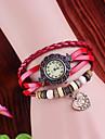 Vintage сердца Женские стиль кулон Кожаный ремешок Кварцевые аналоговые часы браслет (разных цветов)