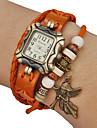 Women's Angel Pendant Square Case Leather Band Quartz Analog Bracelet Watch (Assorted Colors)