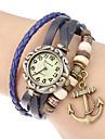 여성 앵커 펜던트 가죽 밴드 석영 아날로그 팔찌 시계 (분류 된 색깔)