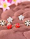 유행 간단한 작은 데이지 꽃 무당 벌레 다이아몬드 꽃 귀걸이 E785