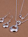 conjunto de prata banhado a moda (colar e brincos) jóias (prata)