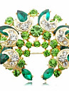 Sweet 5.5Cm Women\'S Golden Alloy Crystal Brooch(Green, Blue)(1 Pc)